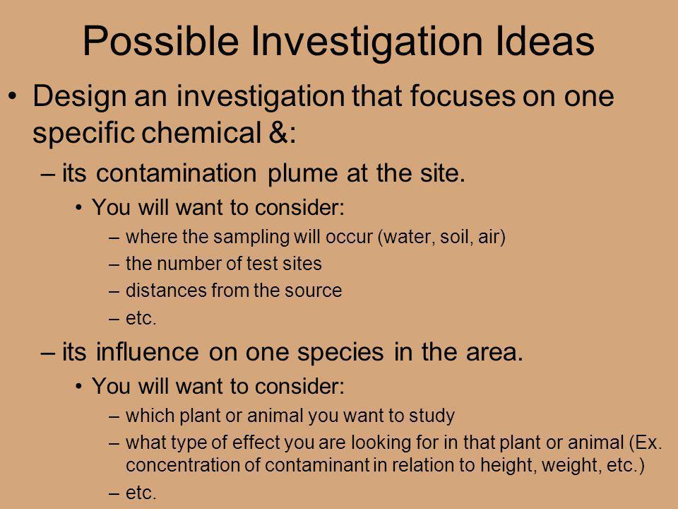 Possible Investigation Ideas