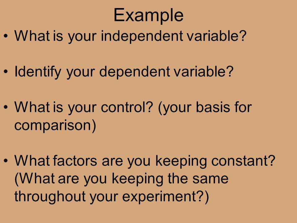 Example What is your independent variable