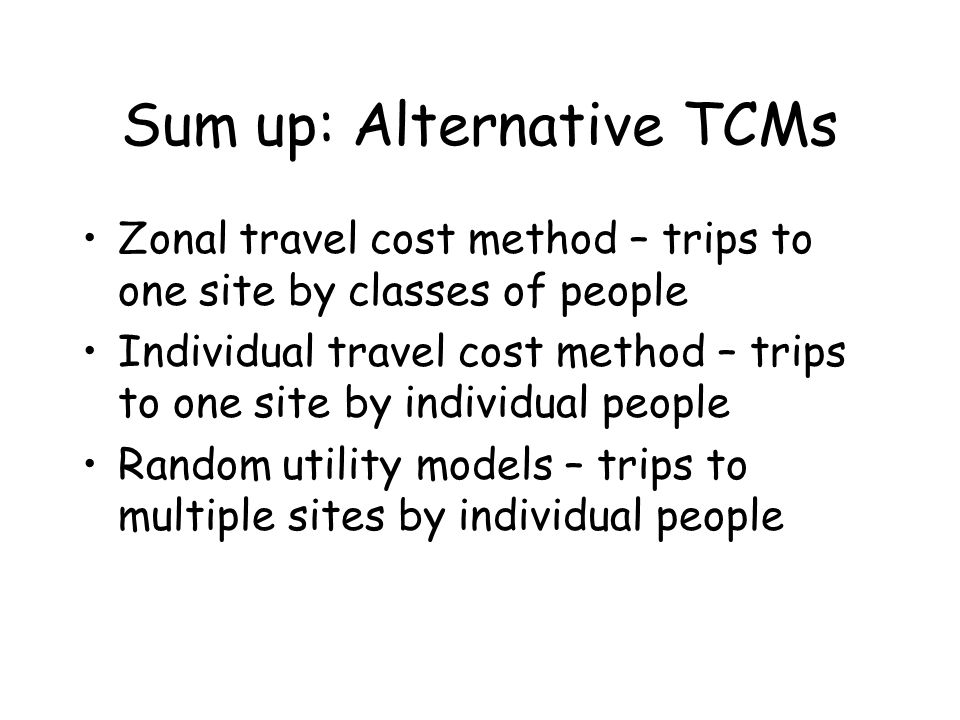 Sum up: Alternative TCMs