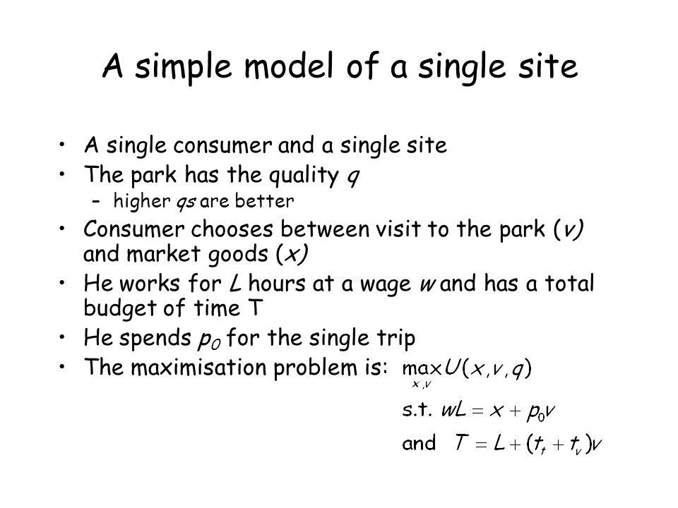 A simple model of a single site