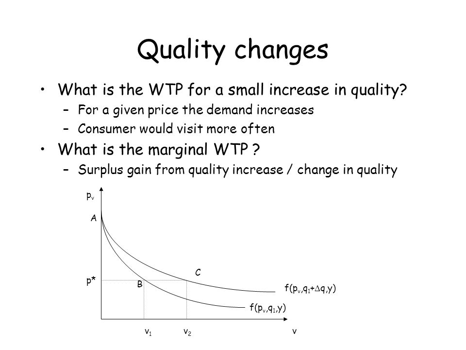 Quality changes What is the WTP for a small increase in quality