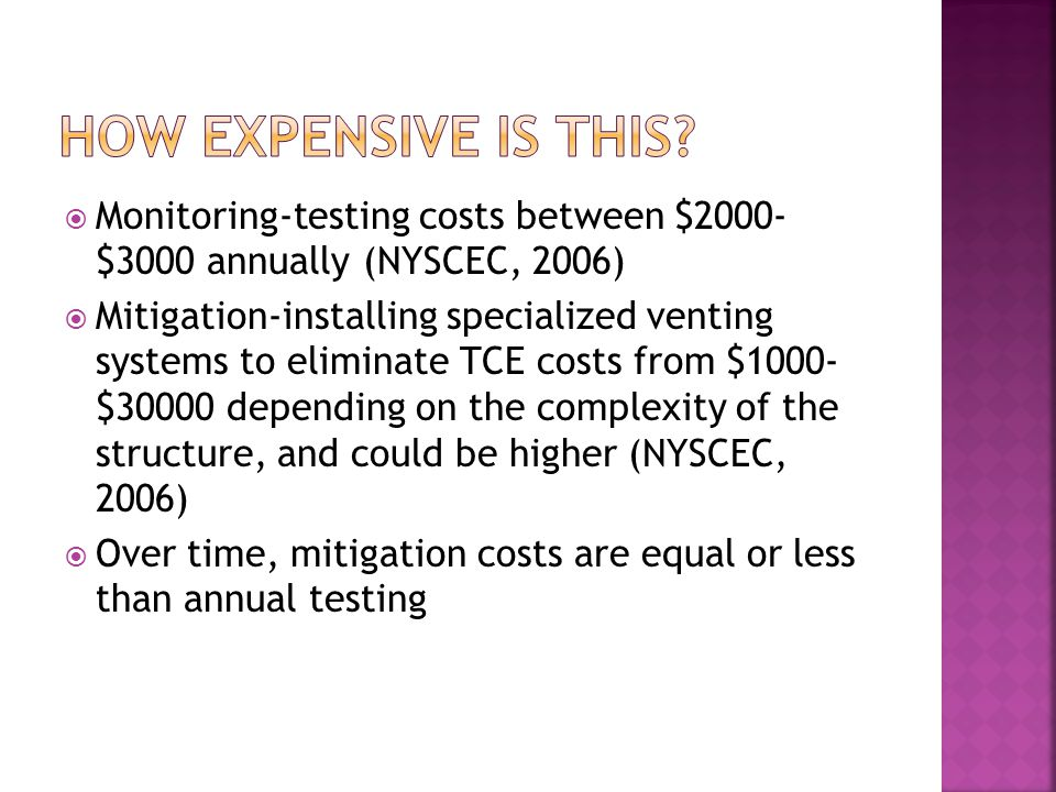How expensive is this Monitoring-testing costs between $2000- $3000 annually (NYSCEC, 2006)