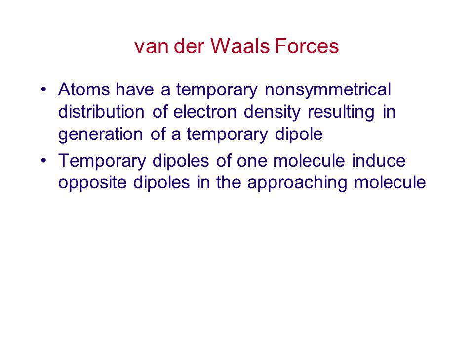 van der Waals Forces Atoms have a temporary nonsymmetrical distribution of electron density resulting in generation of a temporary dipole.