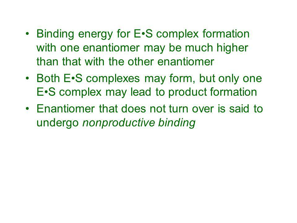 Binding energy for E•S complex formation with one enantiomer may be much higher than that with the other enantiomer