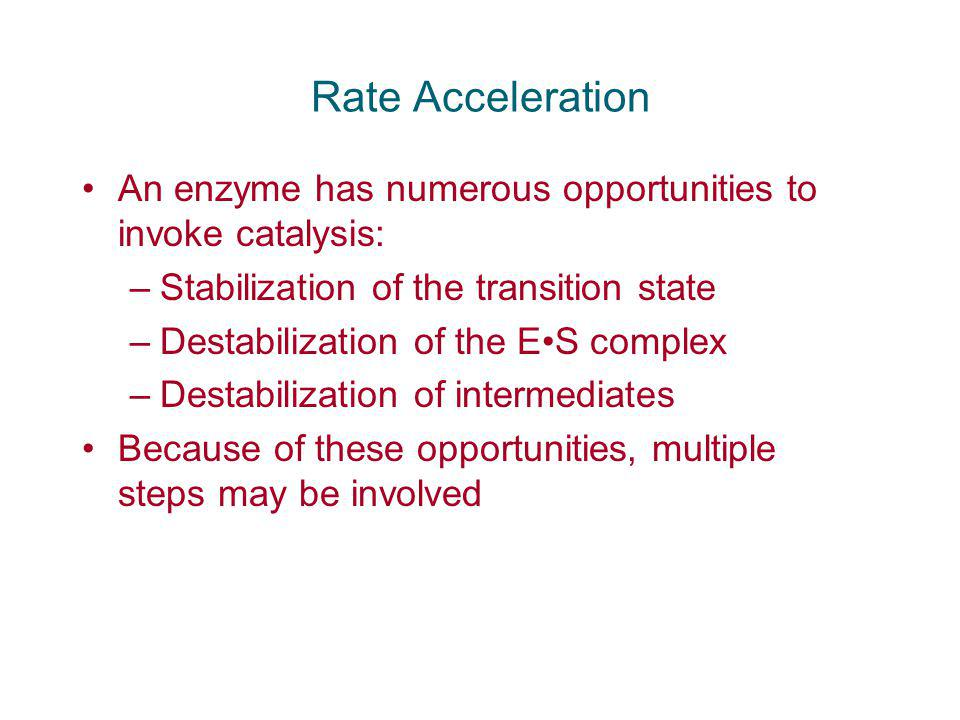 Rate Acceleration An enzyme has numerous opportunities to invoke catalysis: Stabilization of the transition state.