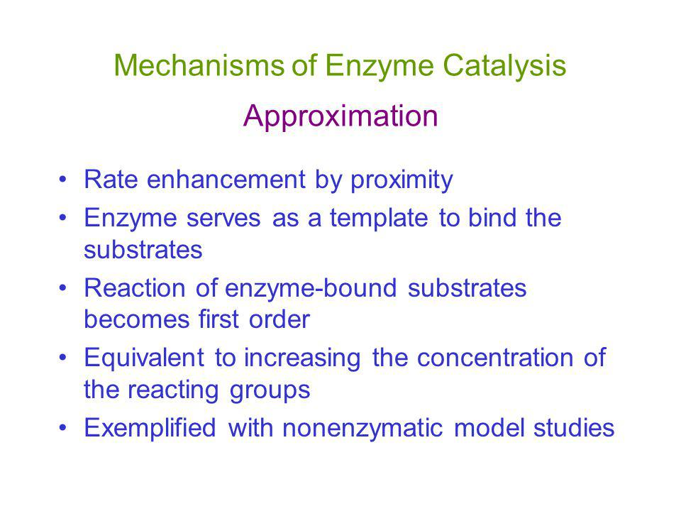 Mechanisms of Enzyme Catalysis Approximation