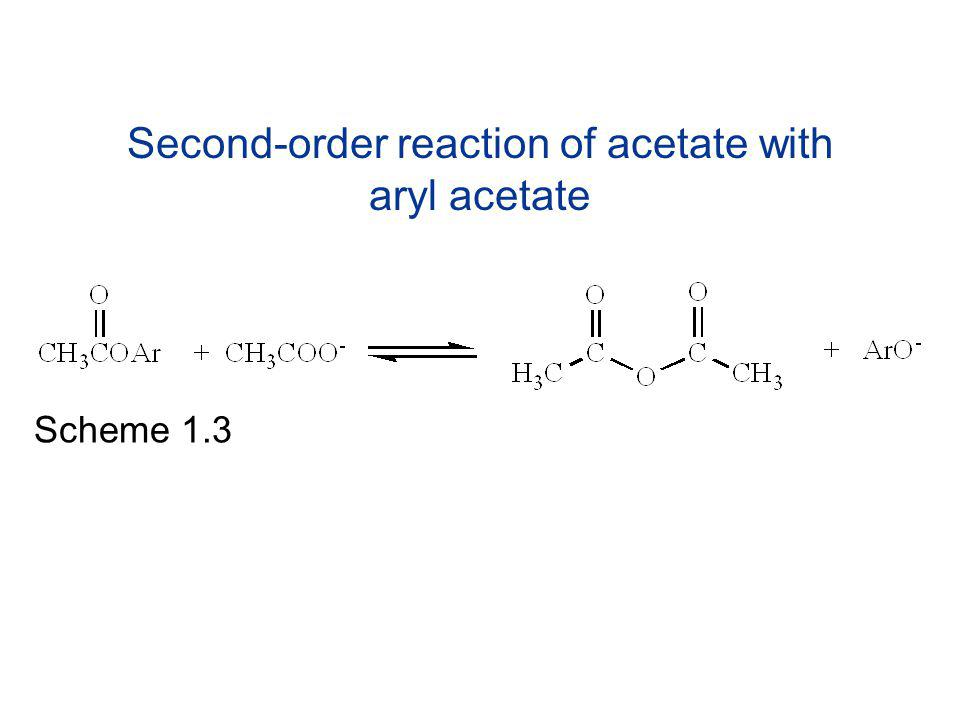 Second-order reaction of acetate with aryl acetate