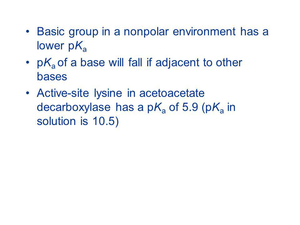 Basic group in a nonpolar environment has a lower pKa