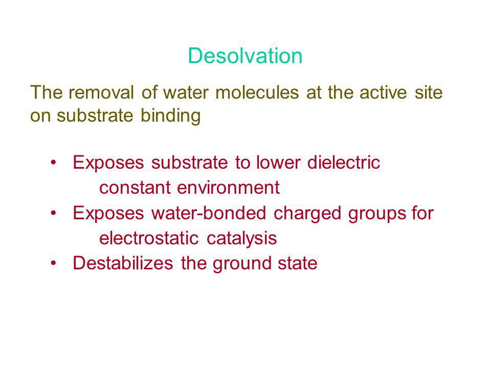 Desolvation The removal of water molecules at the active site