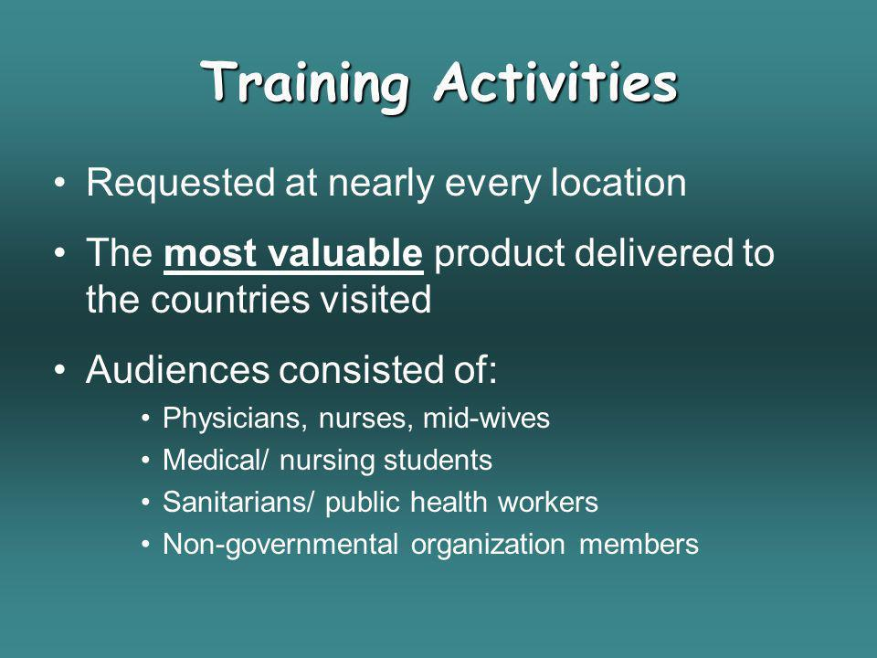 Training Activities Requested at nearly every location