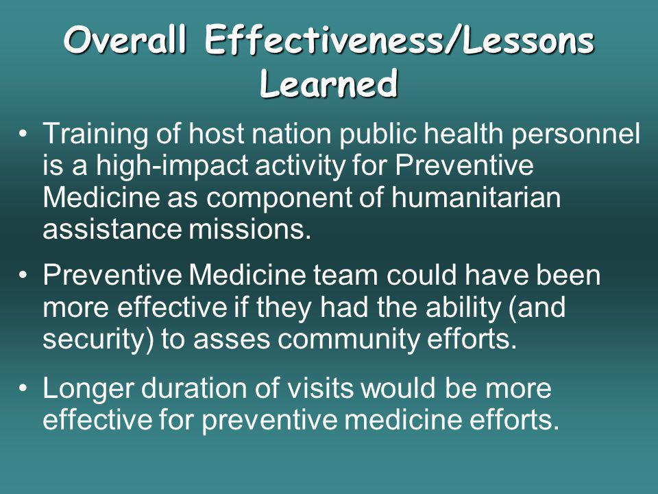 Overall Effectiveness/Lessons Learned