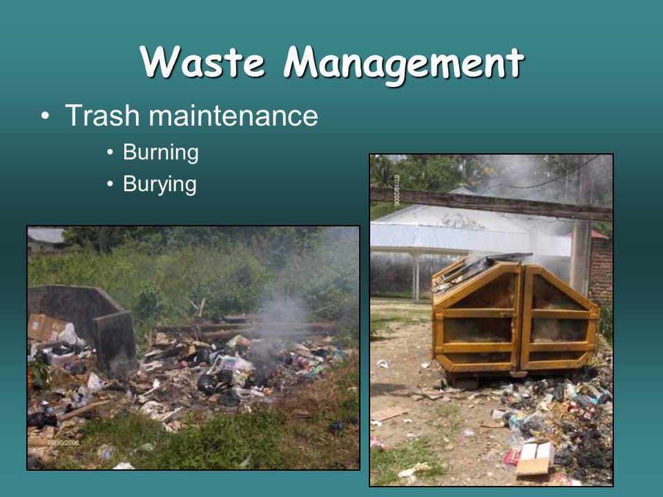 Waste Management Trash maintenance Burning Burying