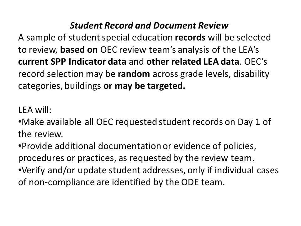 Student Record and Document Review