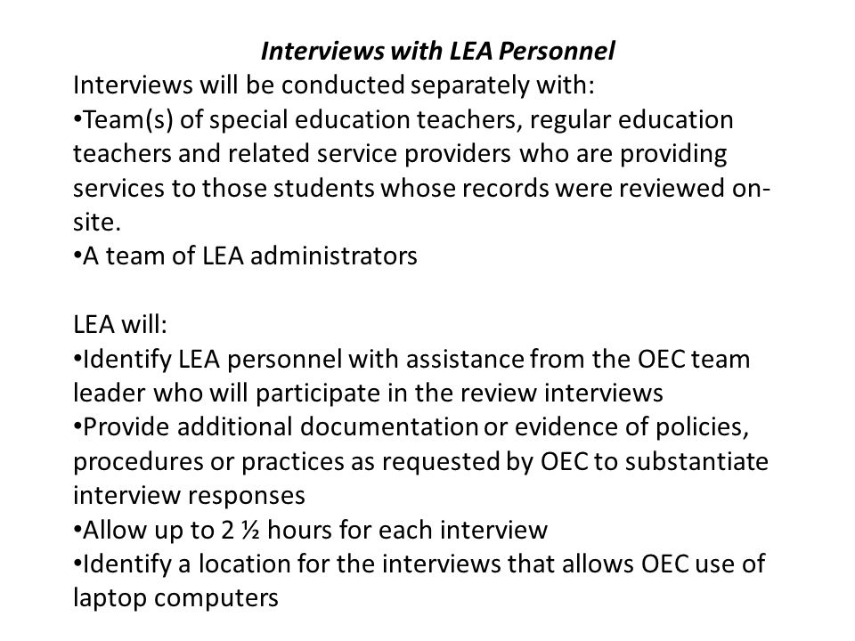 Interviews with LEA Personnel