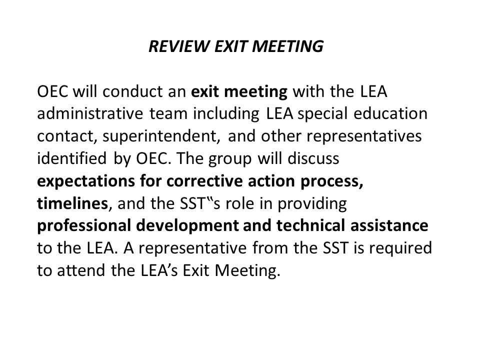 REVIEW EXIT MEETING