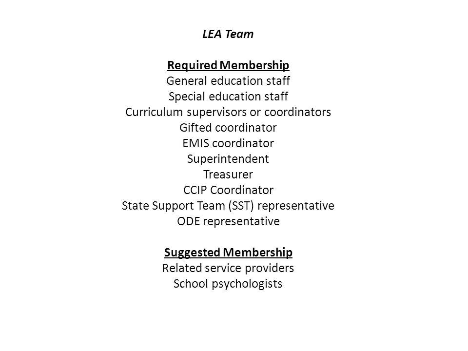 LEA Team Required Membership Suggested Membership