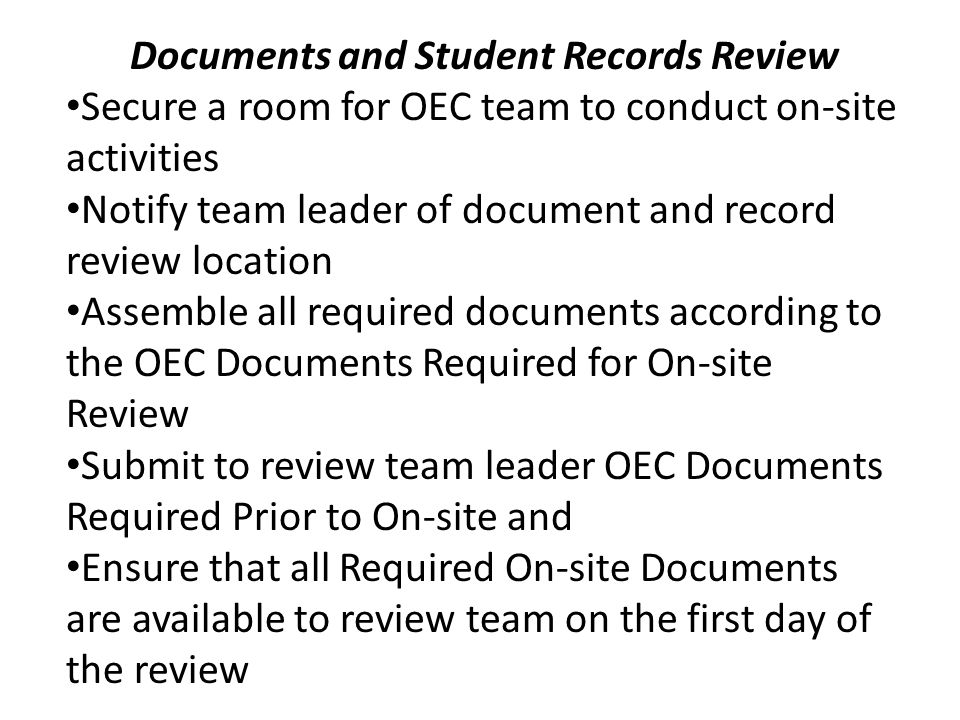 Documents and Student Records Review
