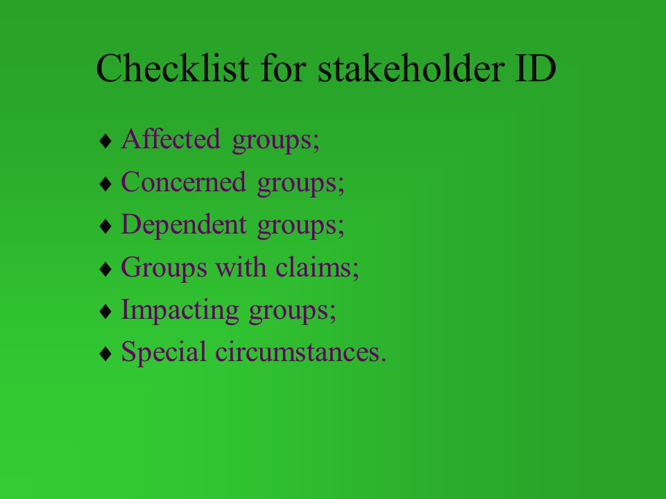 Checklist for stakeholder ID