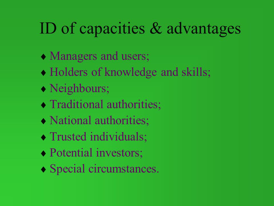 ID of capacities & advantages