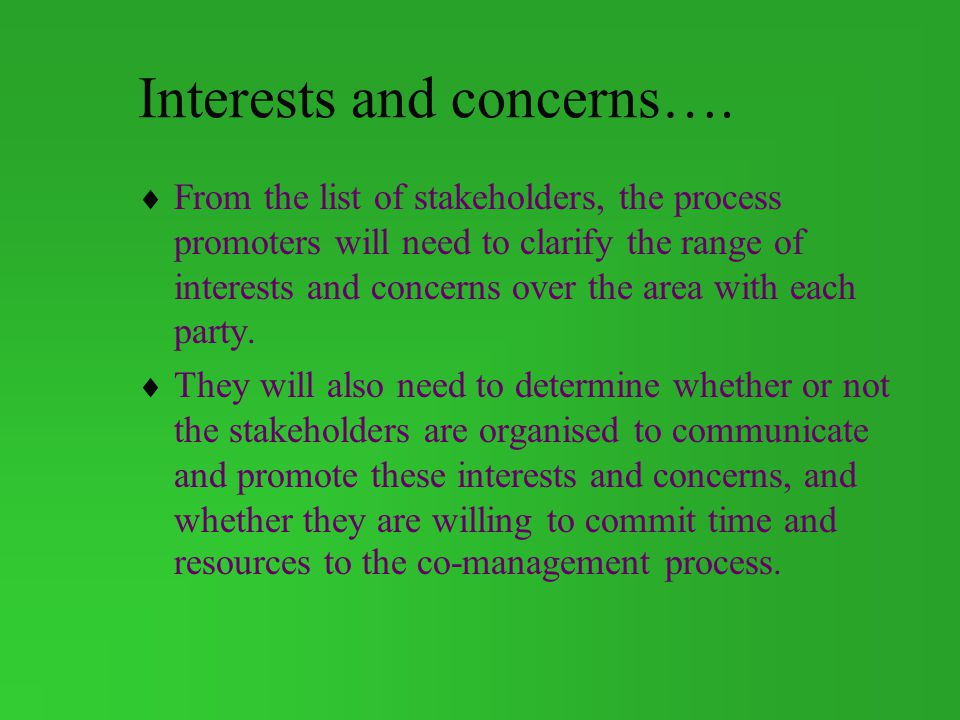 Interests and concerns….
