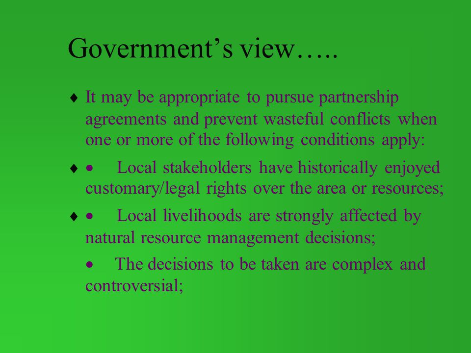 Government's view…..