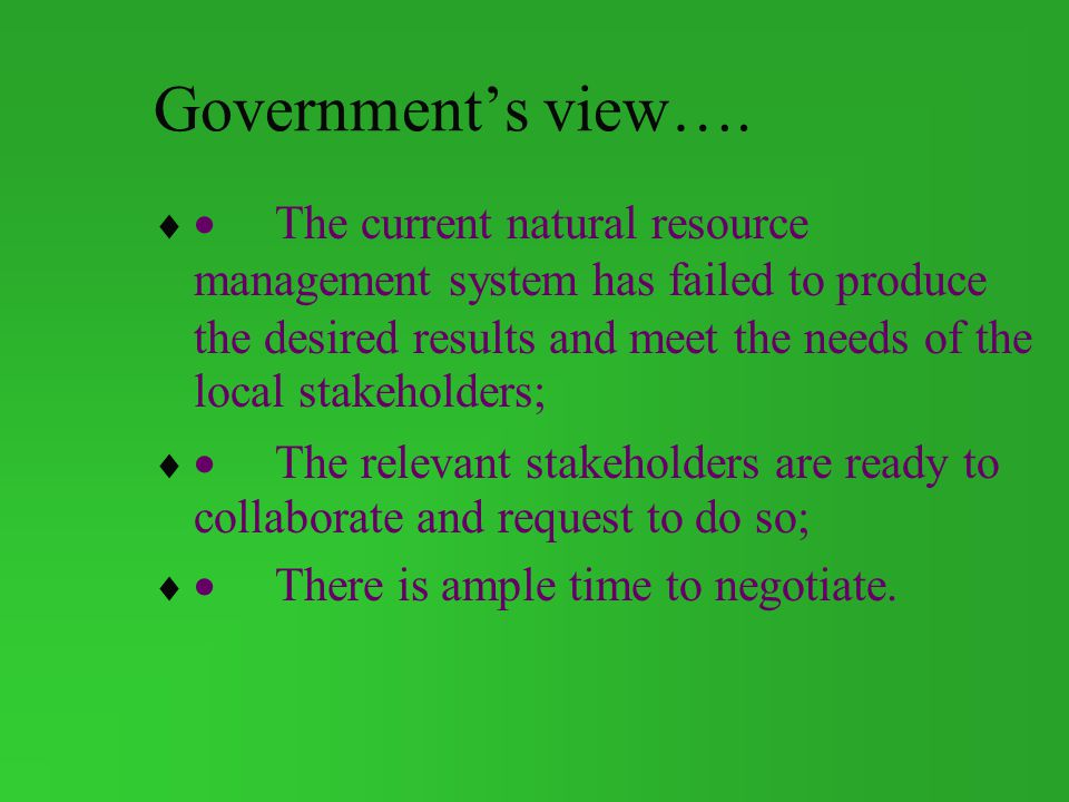 Government's view….