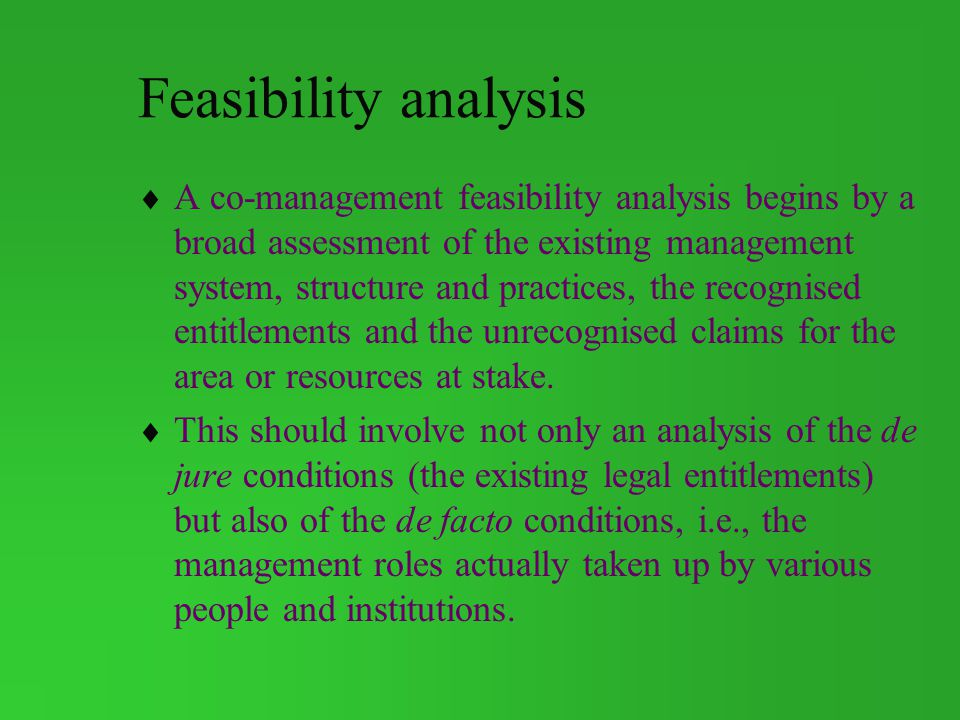 Feasibility analysis