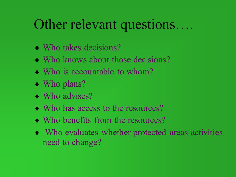 Other relevant questions….