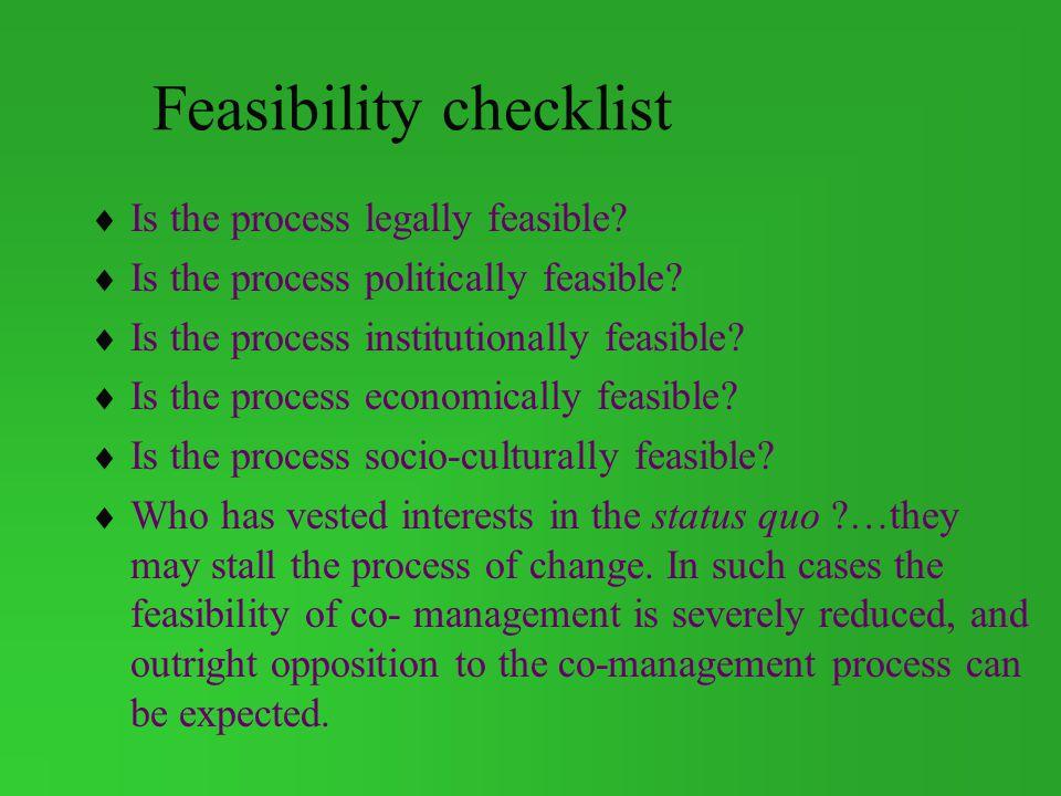 Feasibility checklist