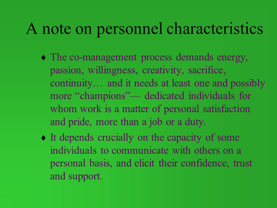 A note on personnel characteristics