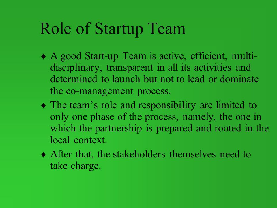 Role of Startup Team