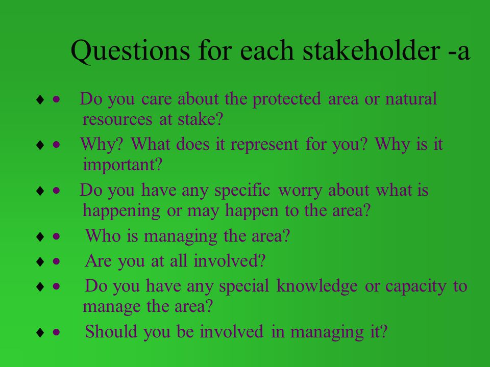 Questions for each stakeholder -a