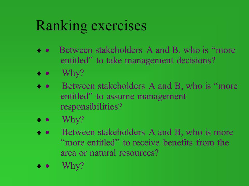 Ranking exercises · Between stakeholders A and B, who is more entitled to take management decisions