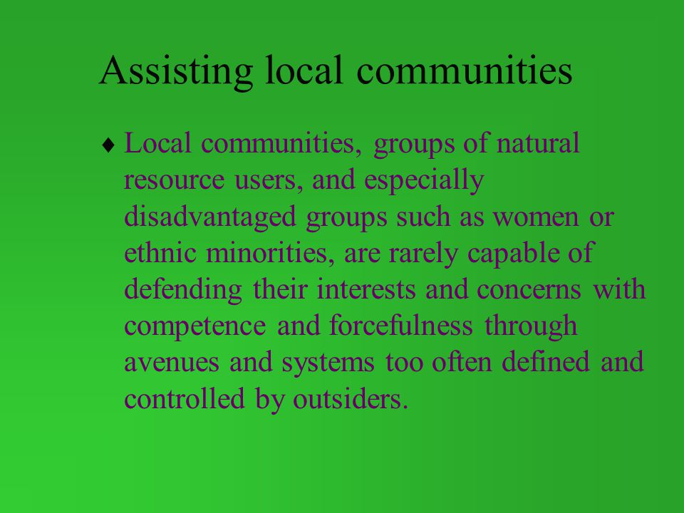Assisting local communities