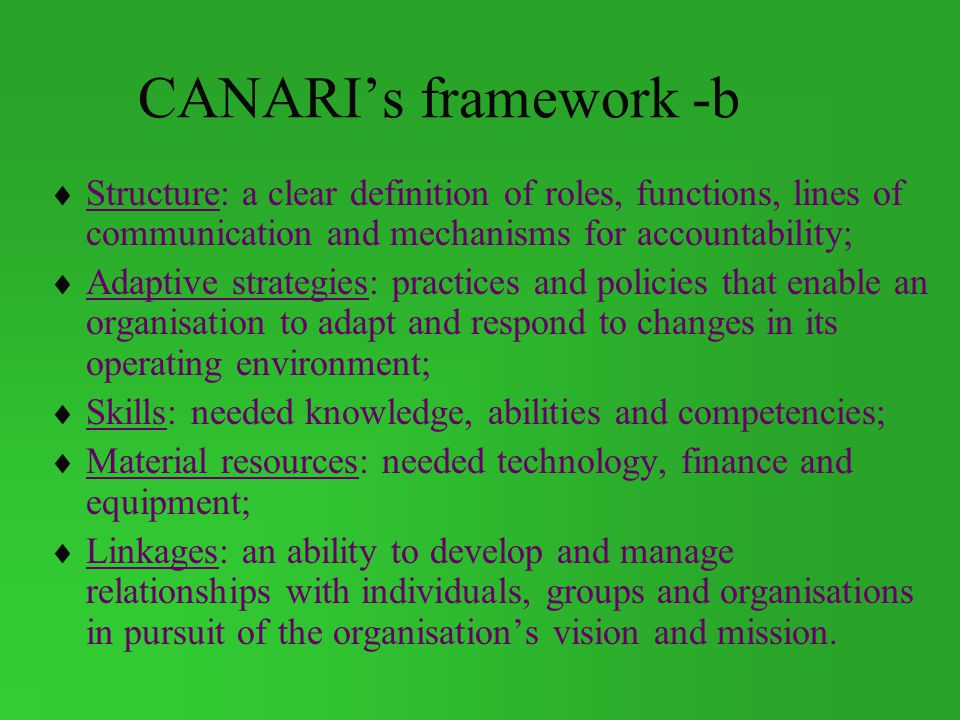 CANARI's framework -b Structure: a clear definition of roles, functions, lines of communication and mechanisms for accountability;