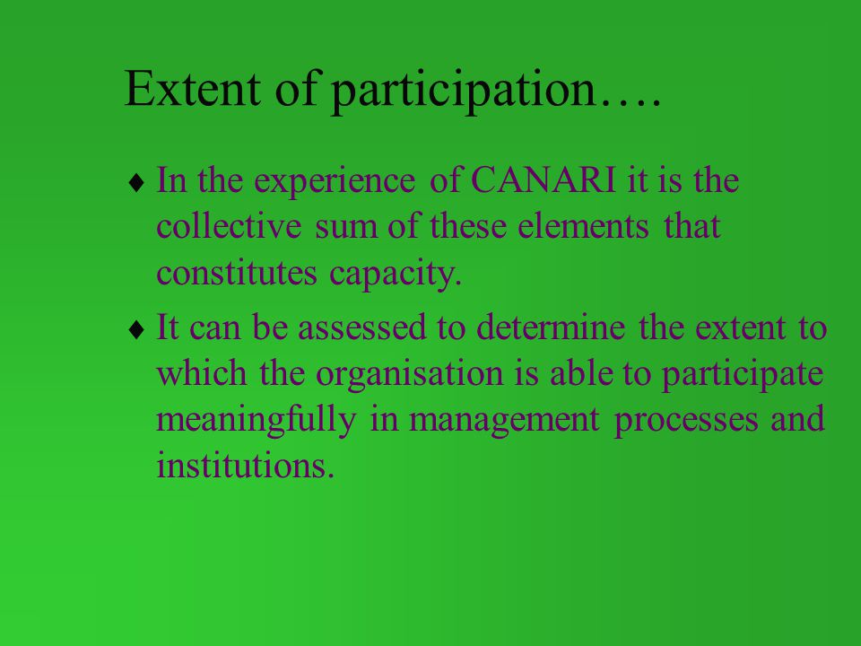Extent of participation….