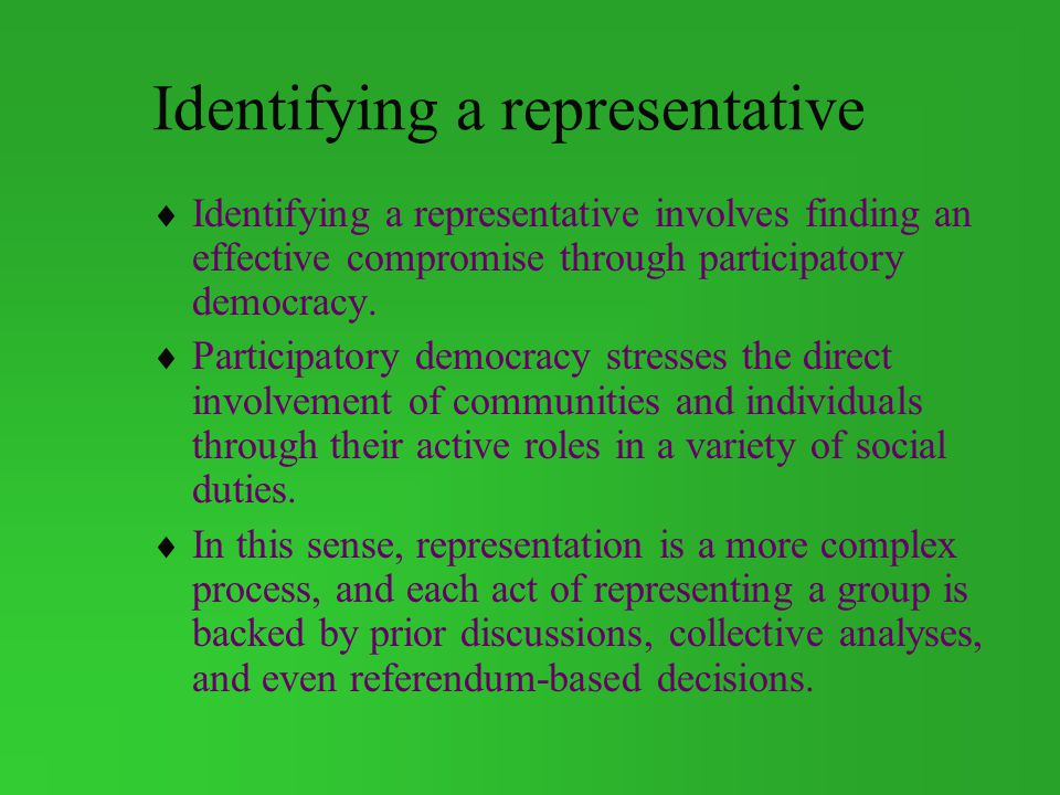 Identifying a representative