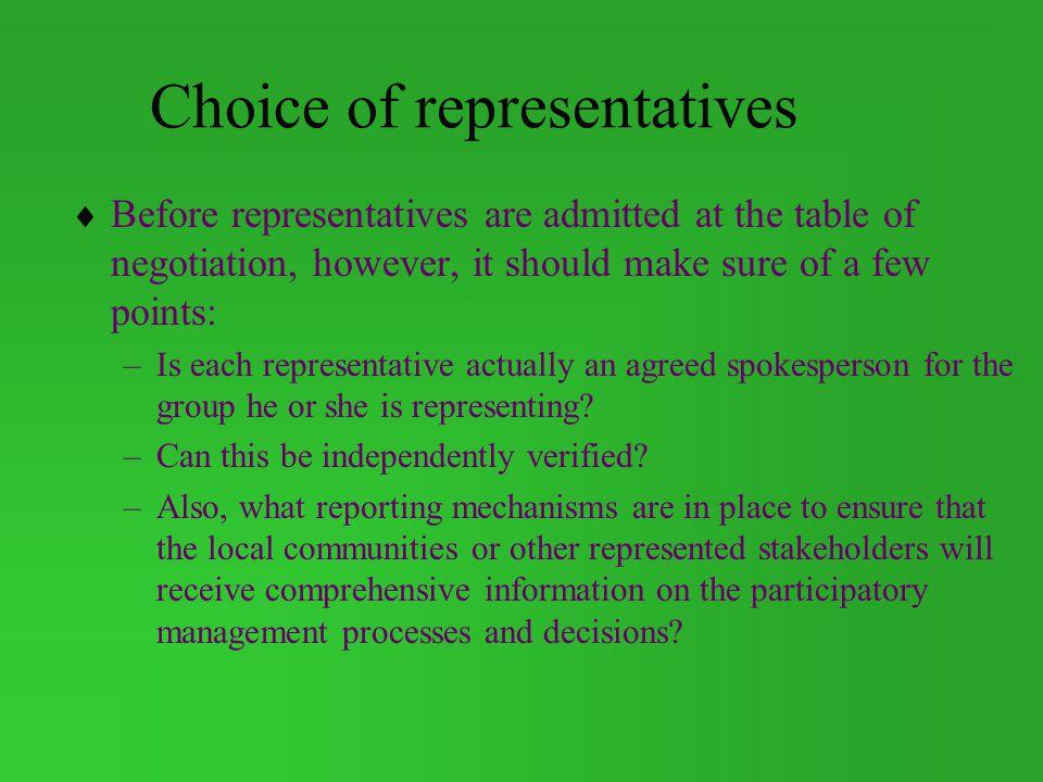 Choice of representatives