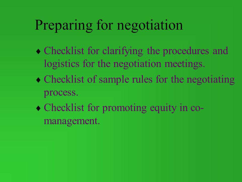 Preparing for negotiation