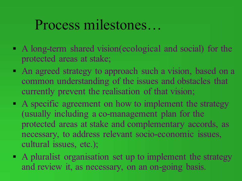 Process milestones… A long-term shared vision(ecological and social) for the protected areas at stake;