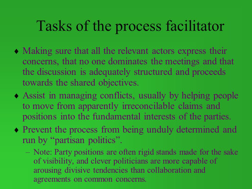Tasks of the process facilitator
