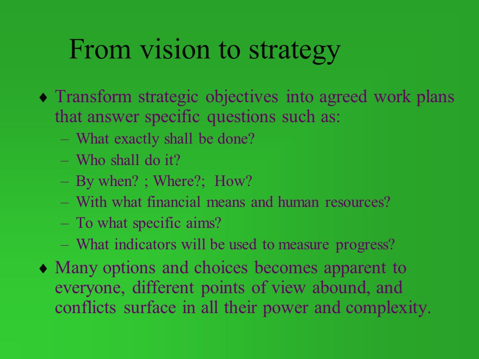 From vision to strategy