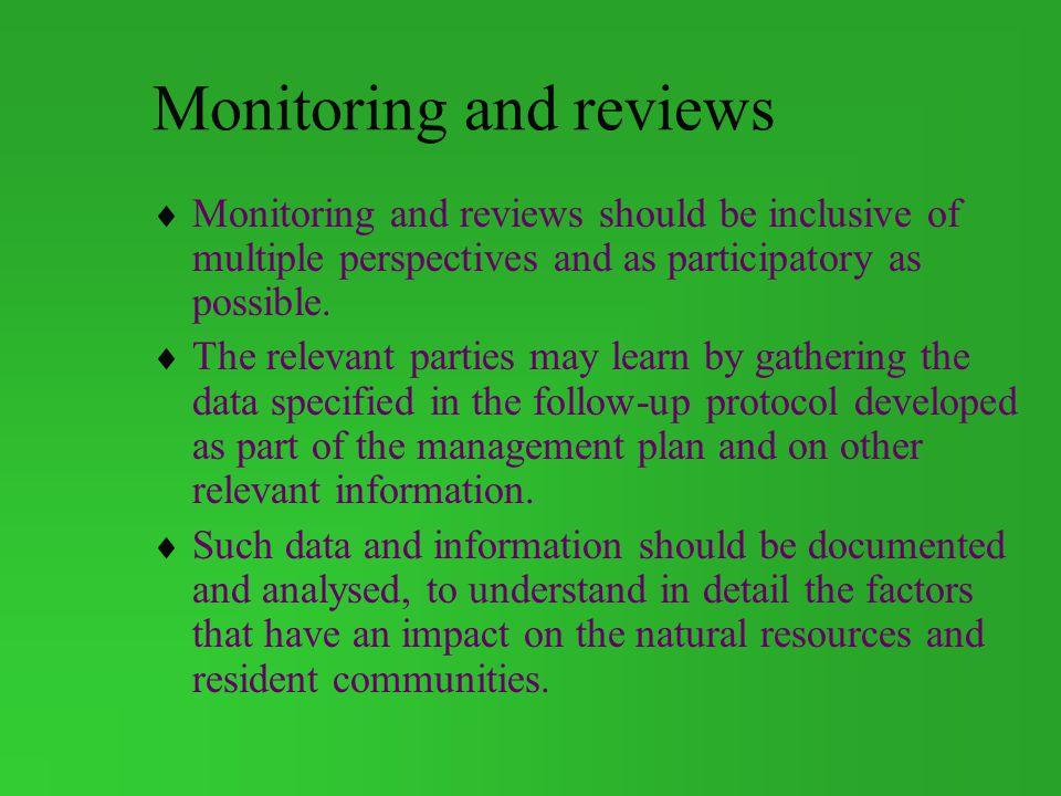 Monitoring and reviews