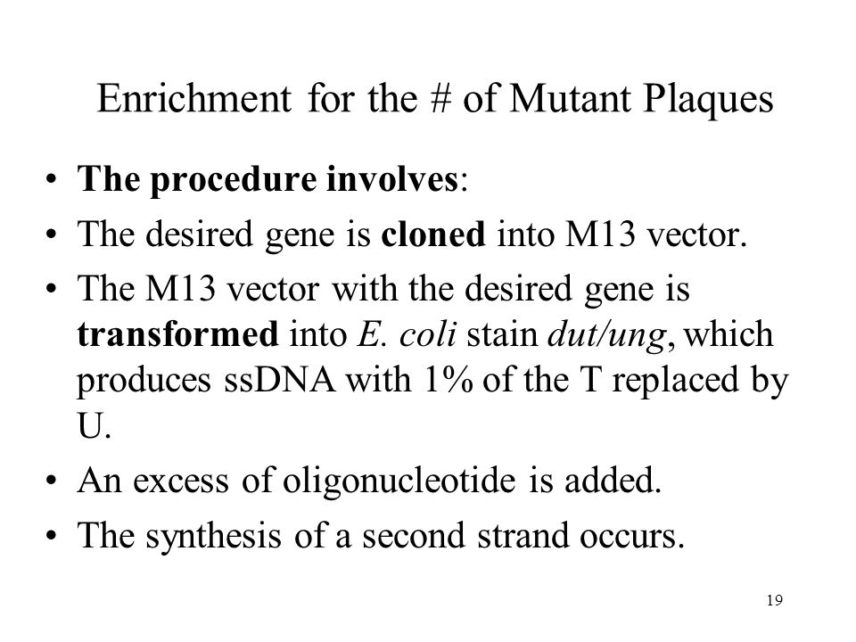 Enrichment for the # of Mutant Plaques