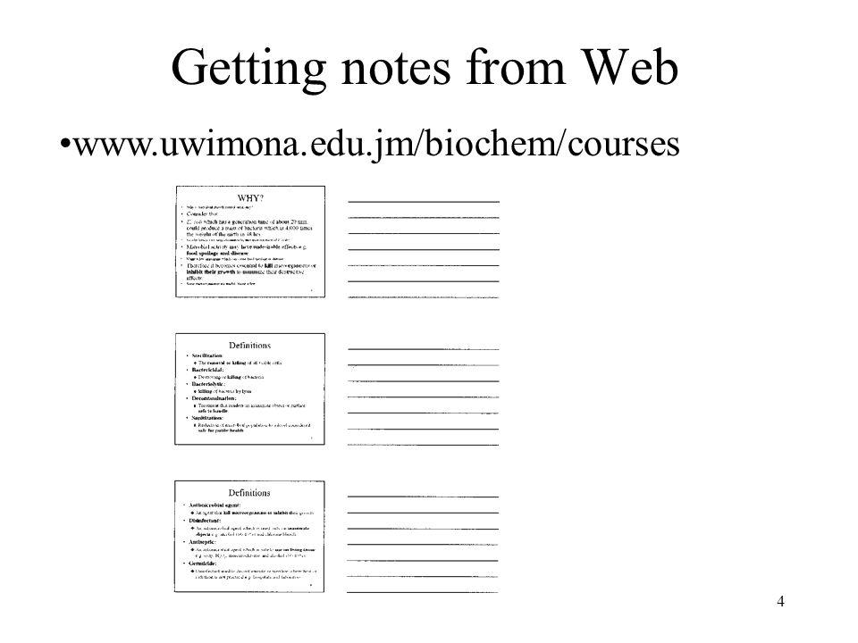 Getting notes from Web www.uwimona.edu.jm/biochem/courses