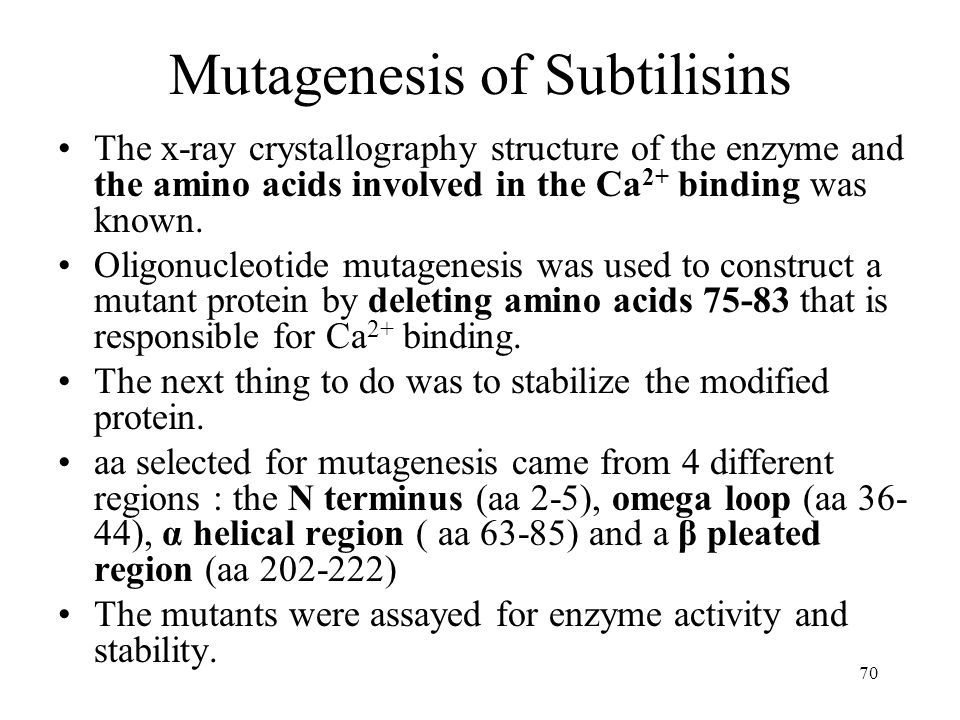 Mutagenesis of Subtilisins