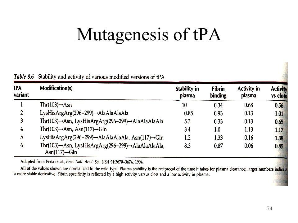 Mutagenesis of tPA