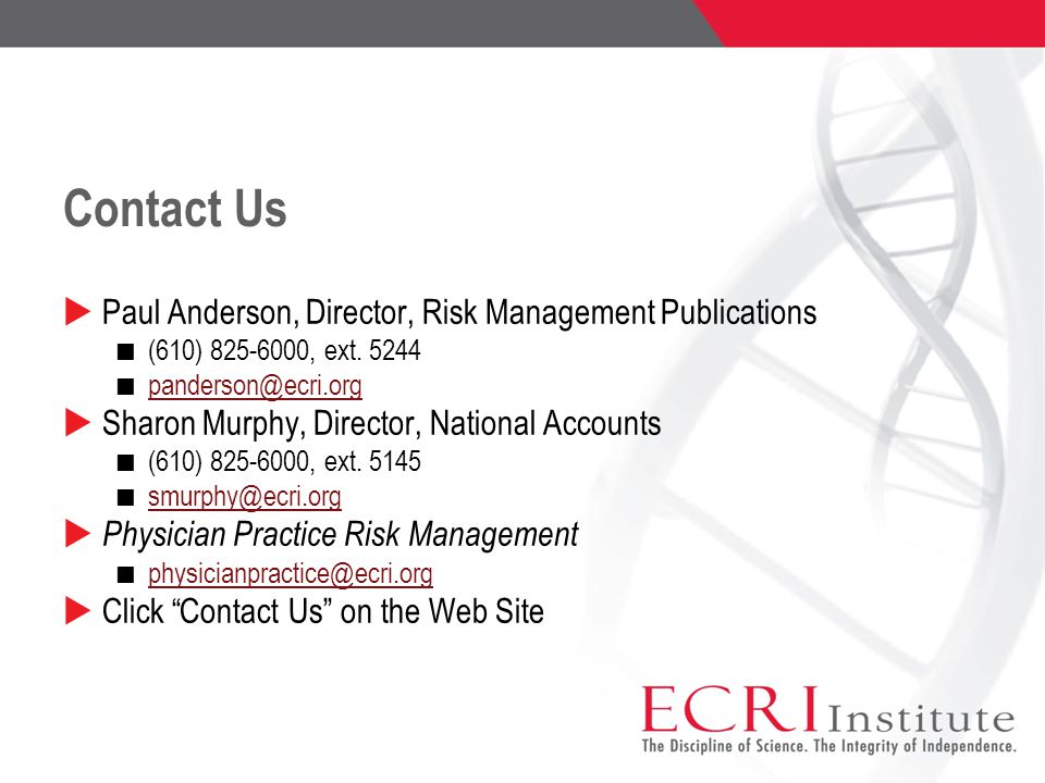 Contact Us Paul Anderson, Director, Risk Management Publications