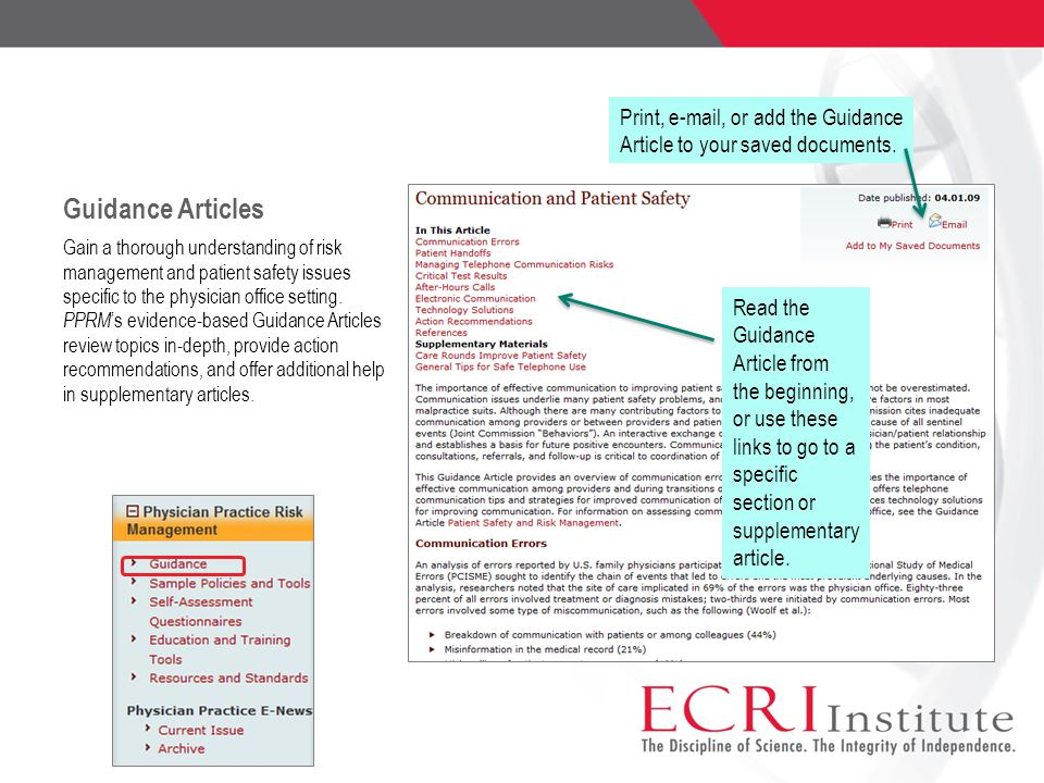 Guidance Articles Print, e-mail, or add the Guidance Article to your saved documents.