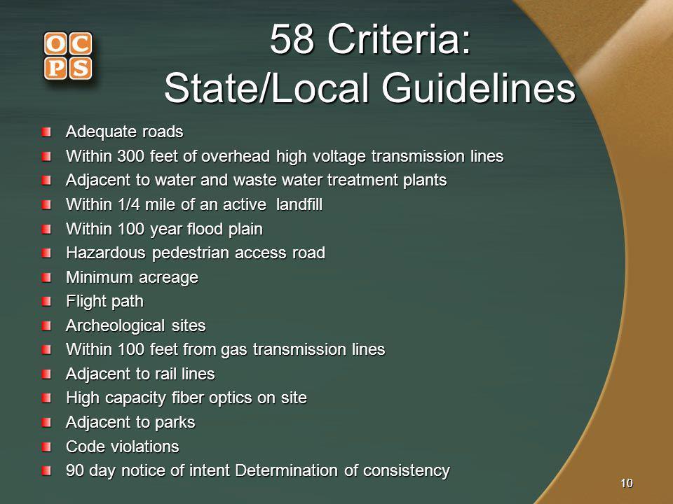 58 Criteria: State/Local Guidelines